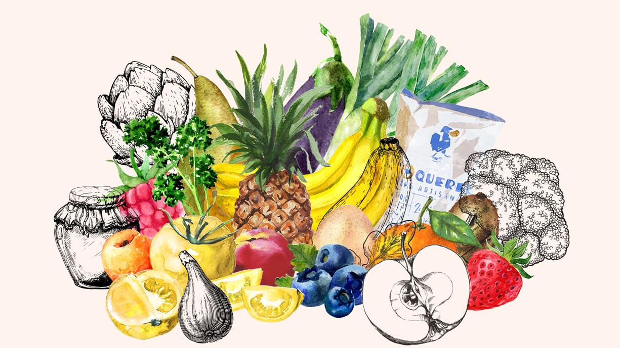 Bouquet de fruits et légumes.
